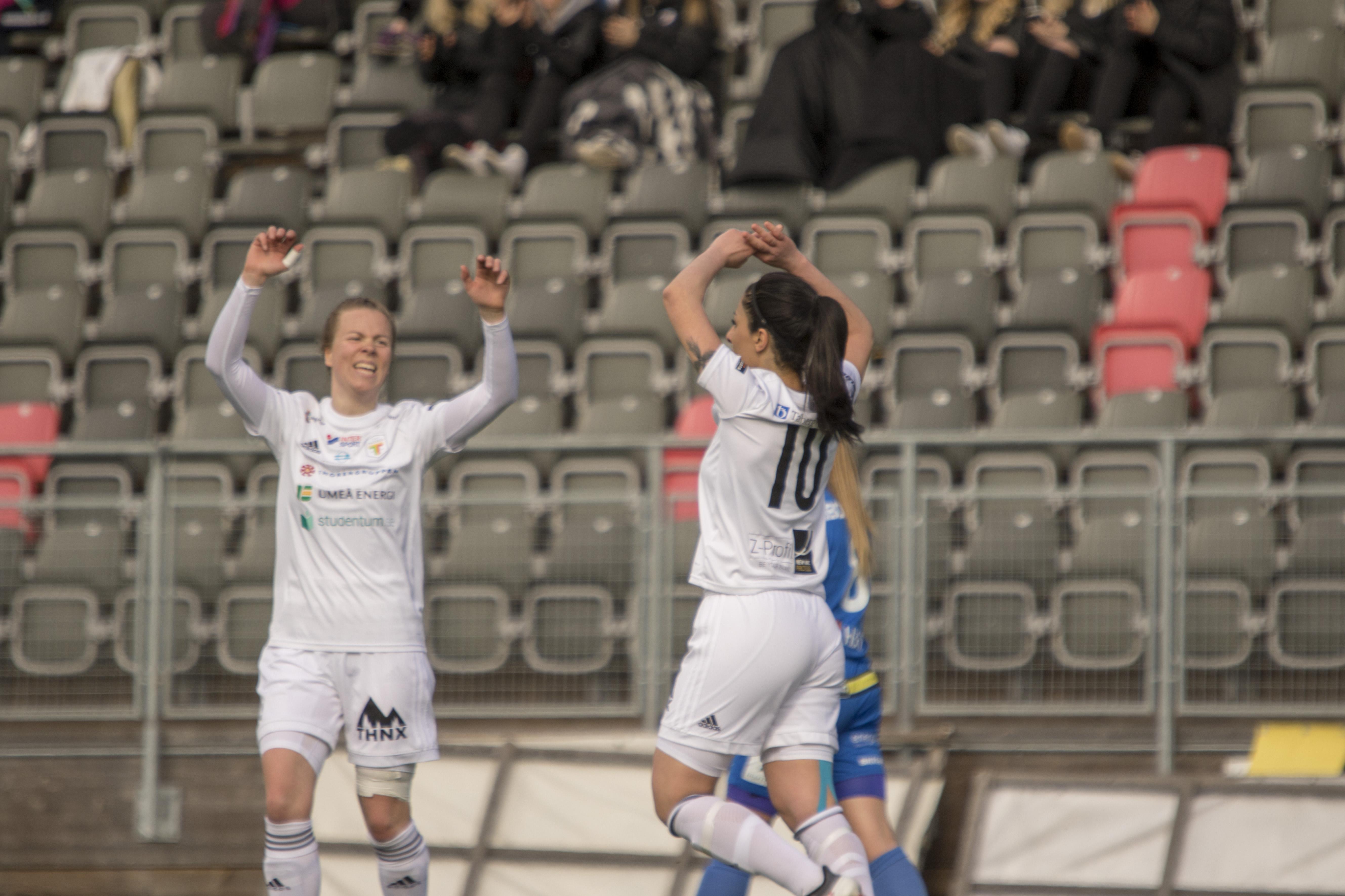 UMEå, SVERIGE - 28 APRIL 2018 : Div.1 Damer mellan Team TG FF och Sunnanå SK på Umeå Energi Arena den 28 Mars i Umeå (Foto:Michael Lundström / Micke´s Sportfoto)